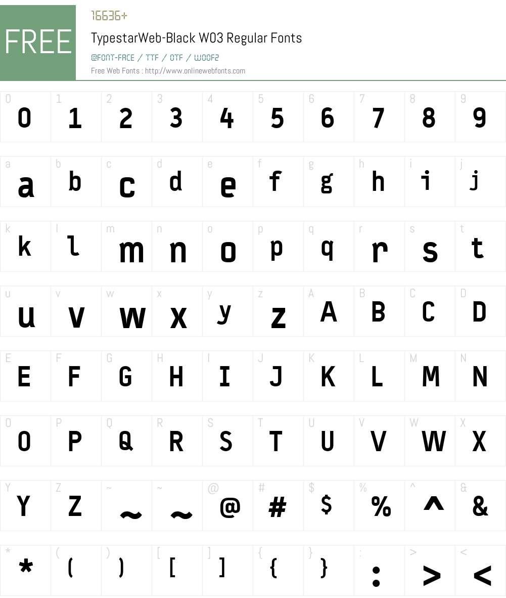 FF Typestar Font Screenshots