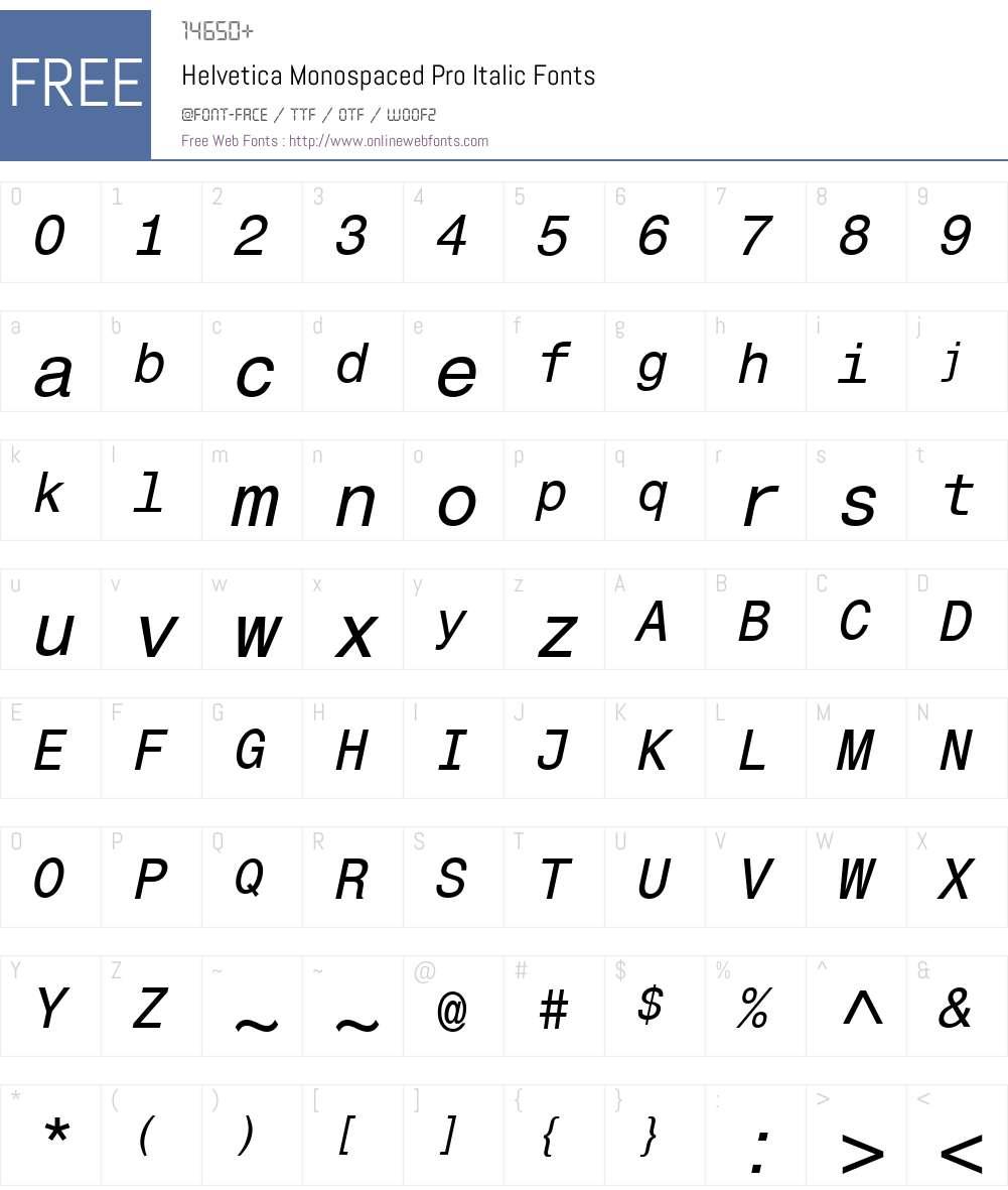 HelveticaMonospacedPro-It Font Screenshots
