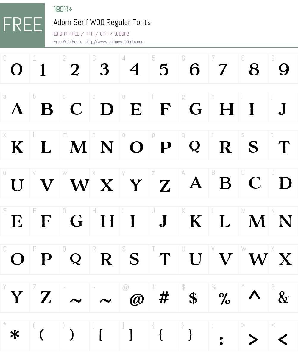 AdornSerifW00-Regular Font Screenshots