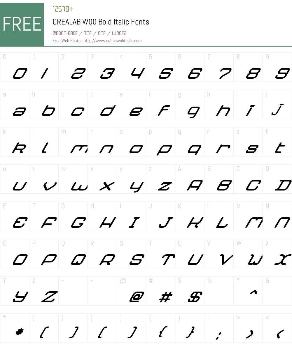 CREALABW00-BoldItalic Font Screenshots