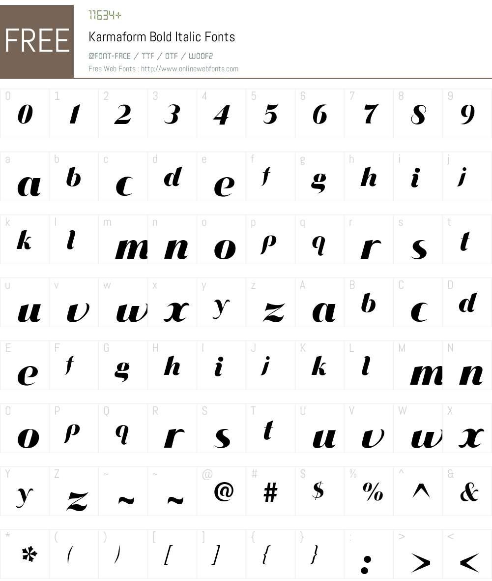 Karmaform Font Screenshots