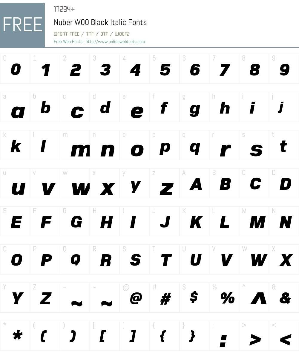 NuberW00-BlackItalic Font Screenshots