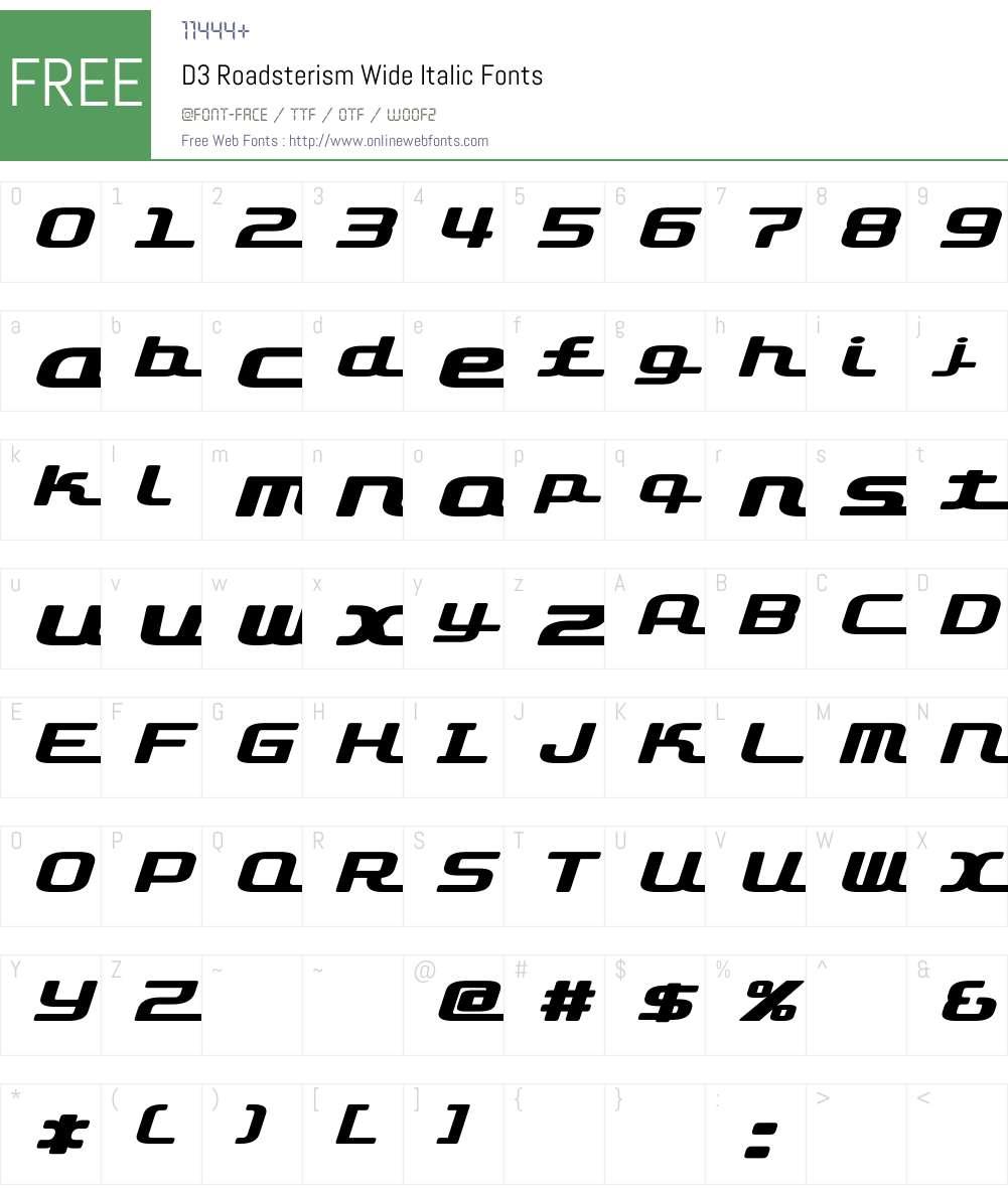 D3 Roadsterism Wide Italic Font Screenshots
