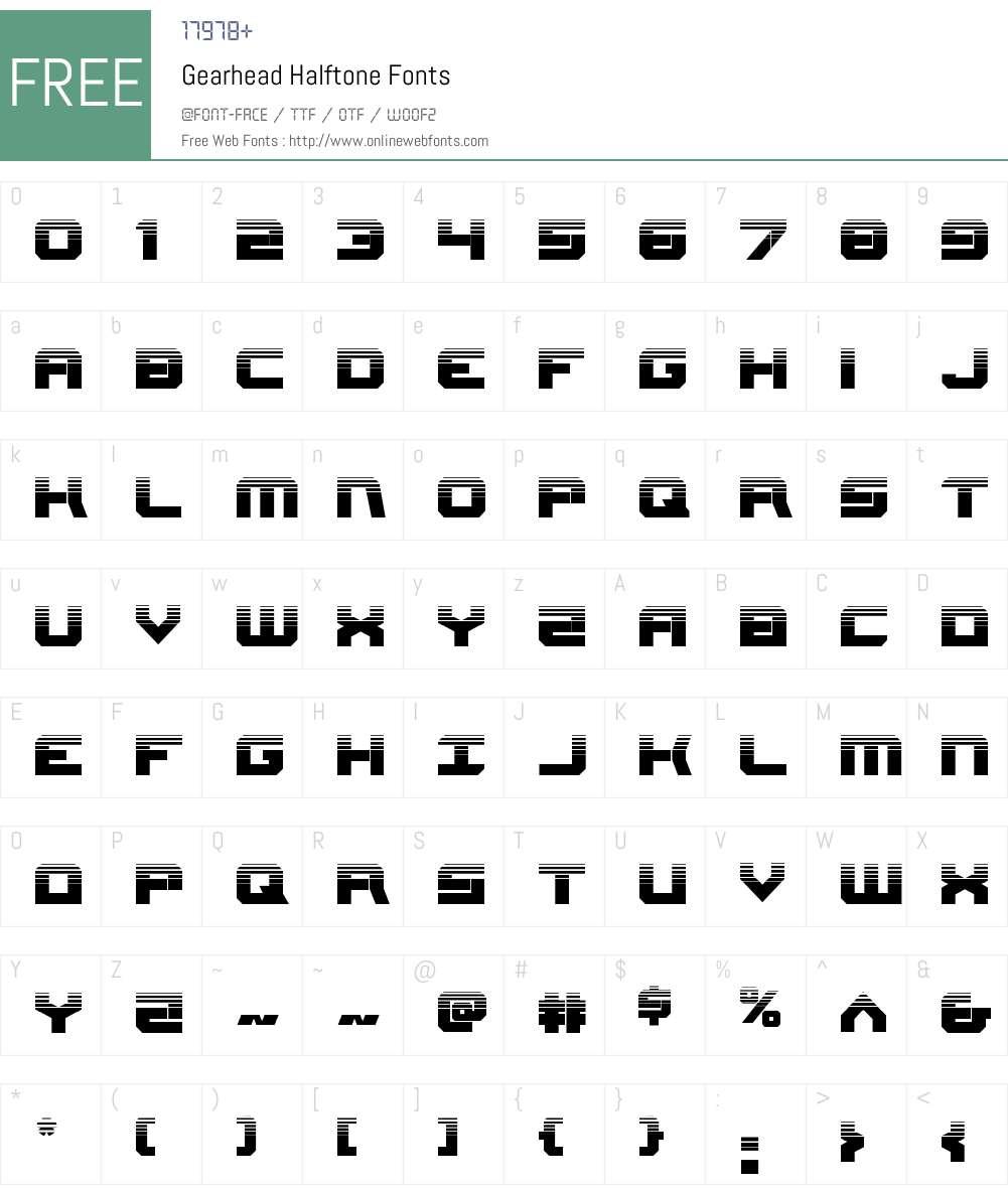 Gearhead Halftone Font Screenshots