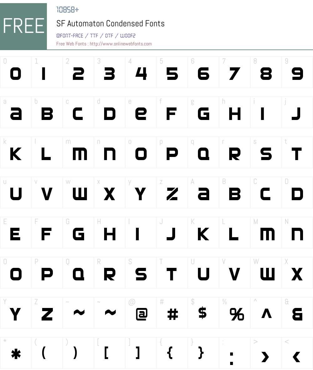 SF Automaton Condensed Font Screenshots