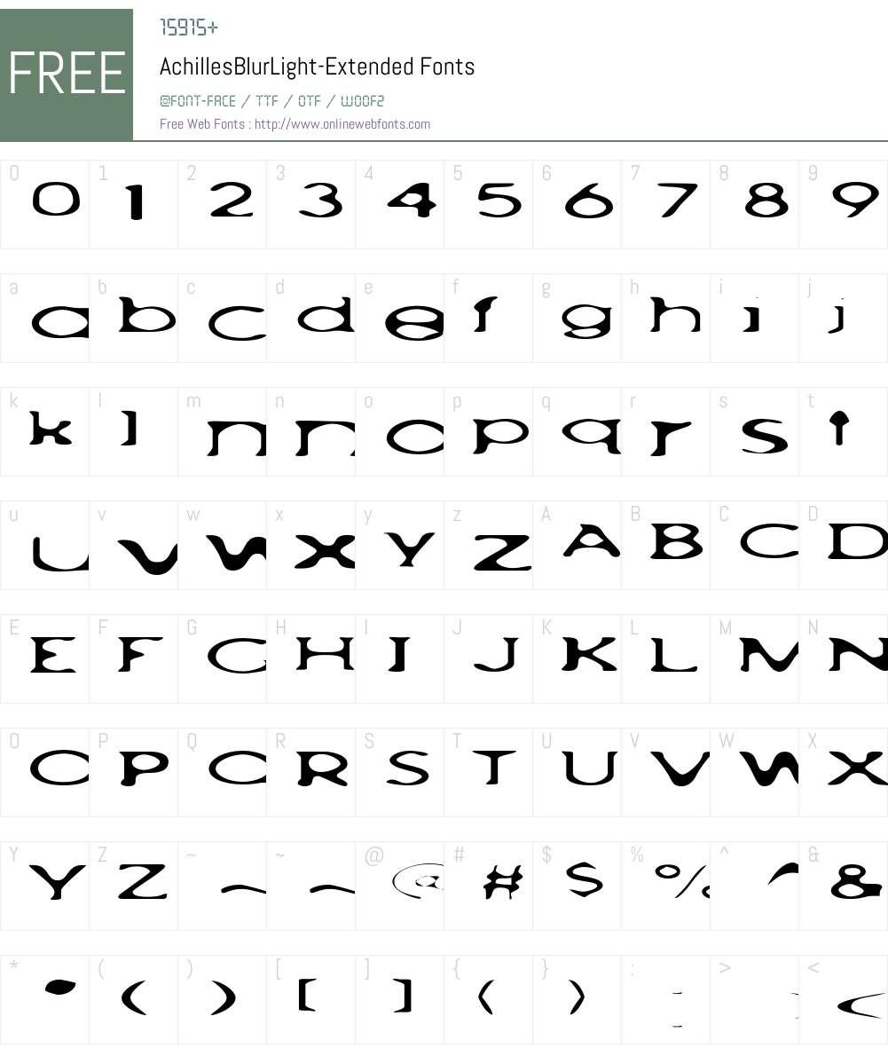 AchillesBlurLight Font Screenshots