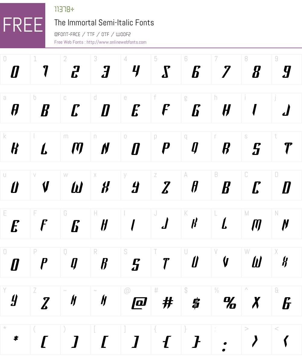 The Immortal Semi-Italic Font Screenshots