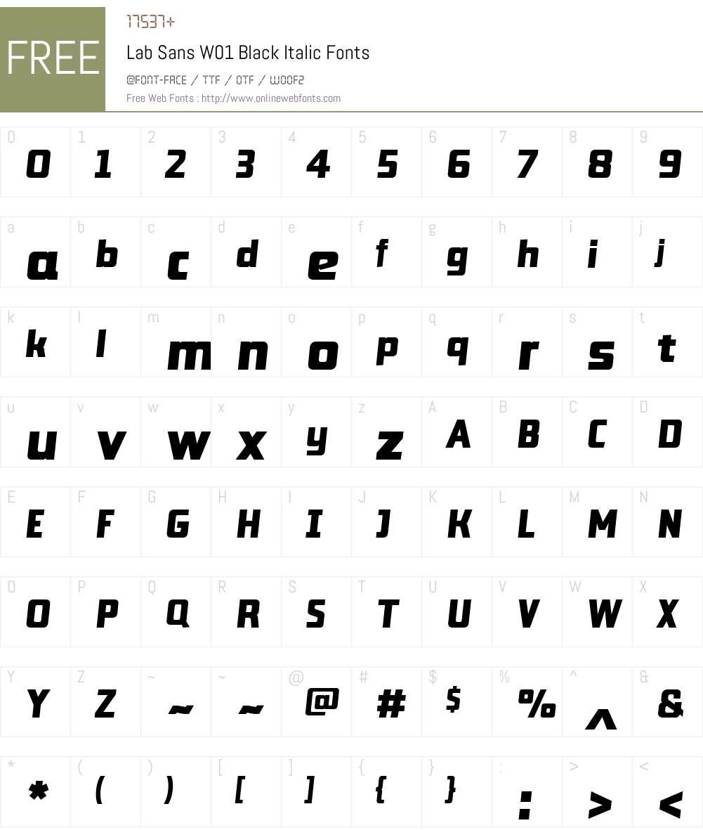 LabSansW01-BlackItalic Font Screenshots