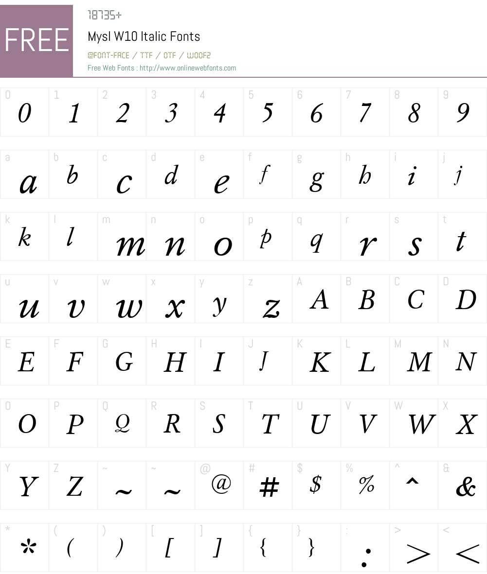 MyslW10-Italic Font Screenshots