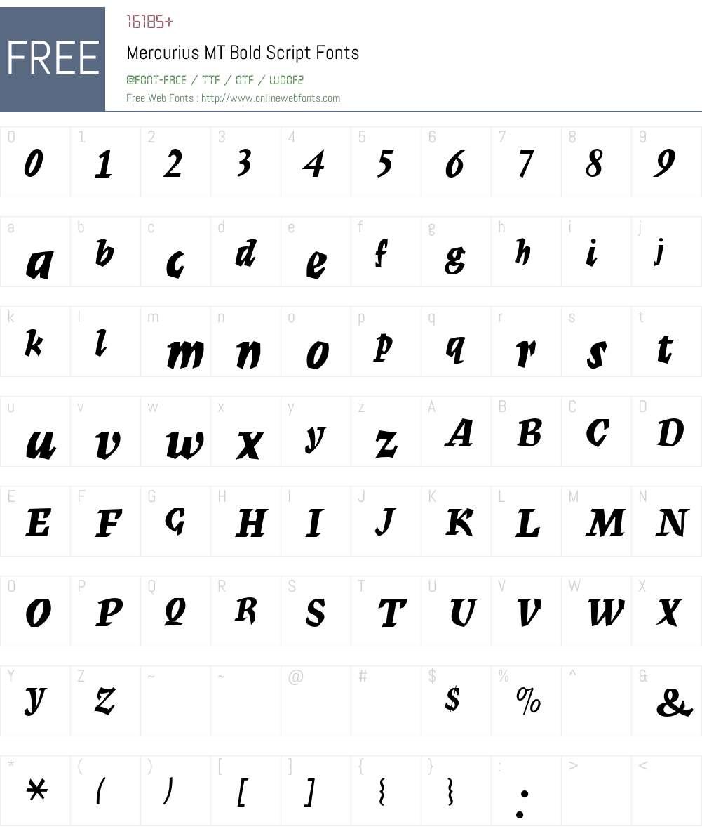 Mercurius MT Font Screenshots