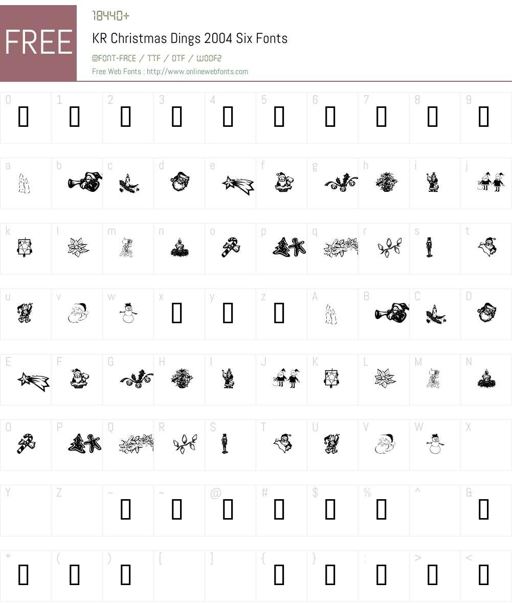KR Christmas Dings 2004 Six Font Screenshots