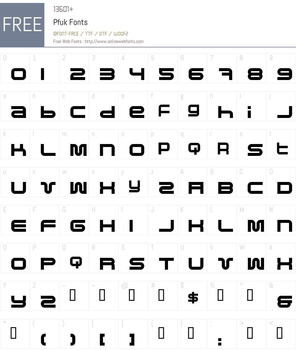 Pfuk Font Screenshots