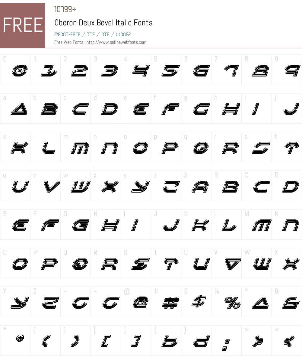 Oberon Deux Bevel Italic Font Screenshots