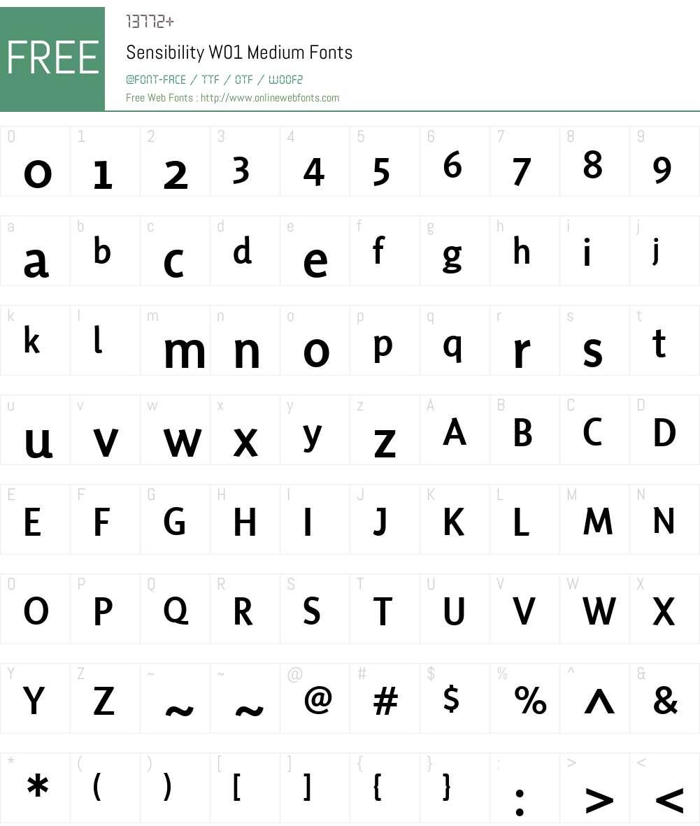 SensibilityW01-Medium Font Screenshots