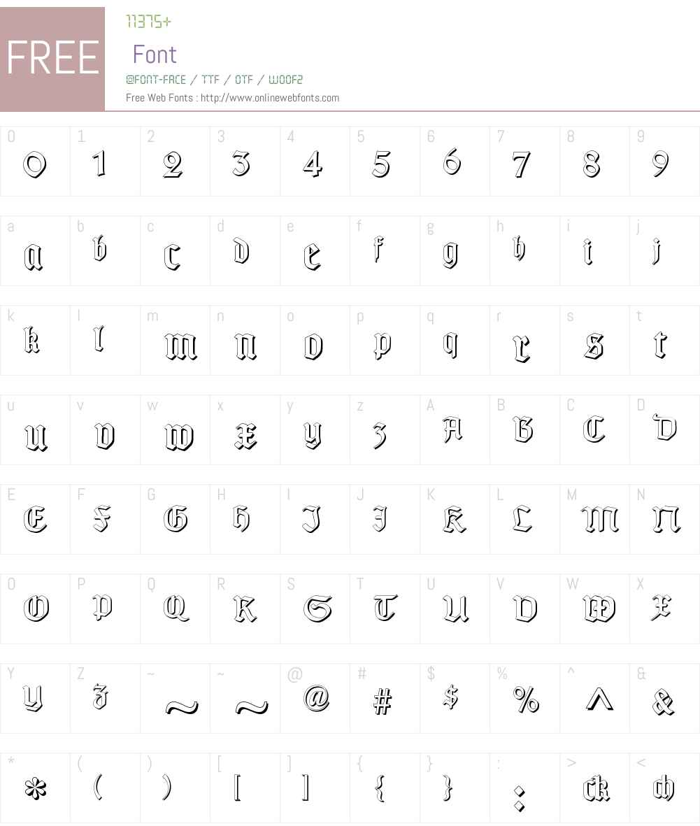 TypographerGotisch Schatten Font Screenshots