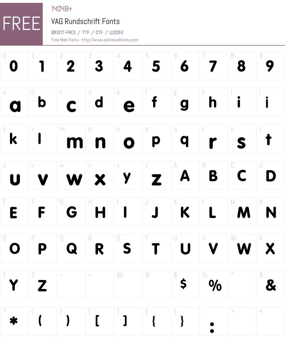 VAG Rundschrift BQ Font Screenshots