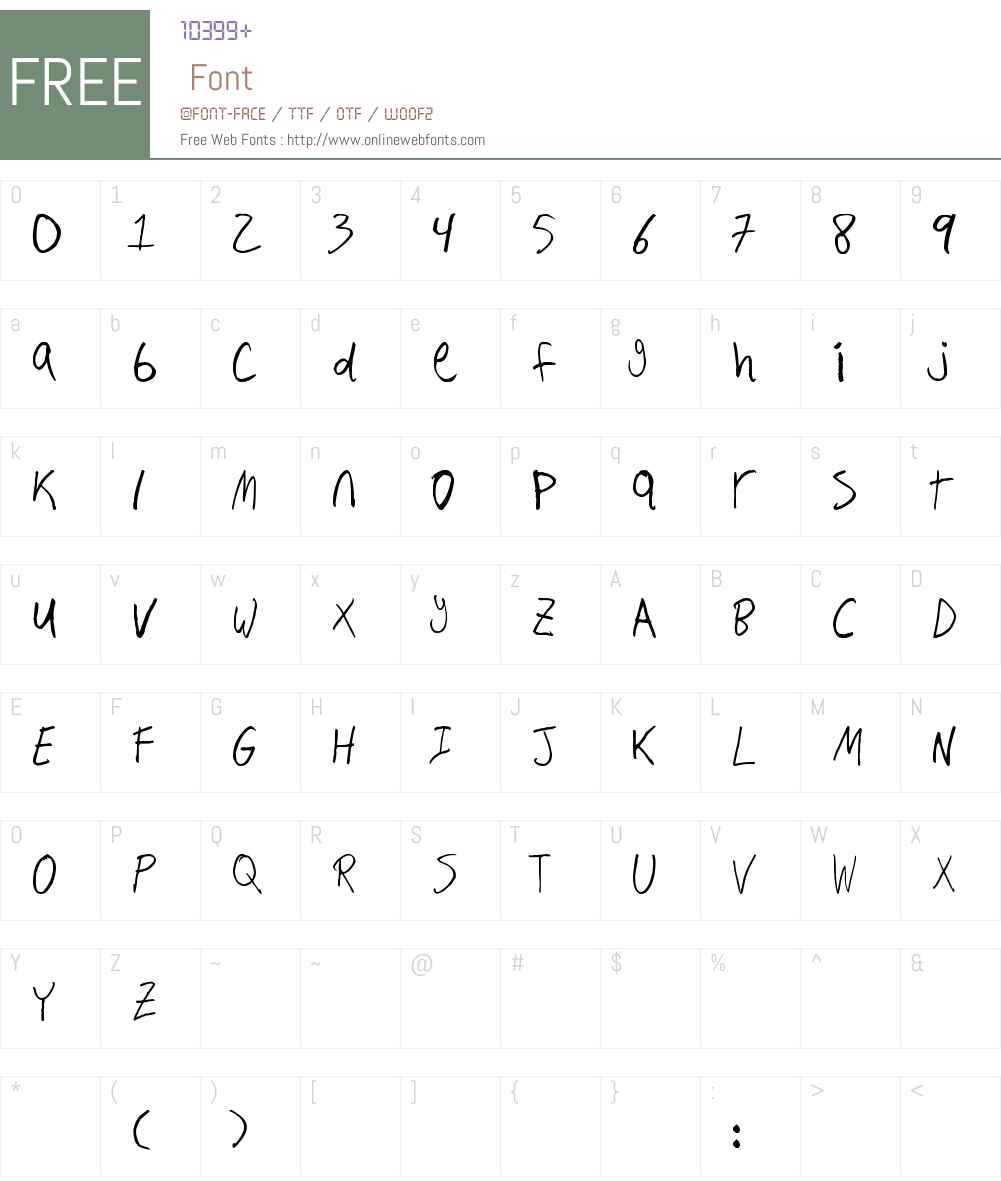 Hand Writing Font Screenshots