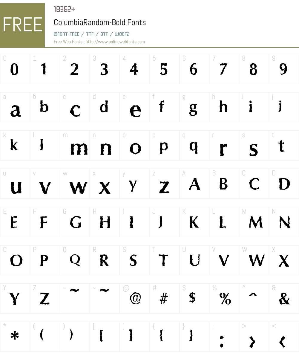 ColumbiaRandom Font Screenshots