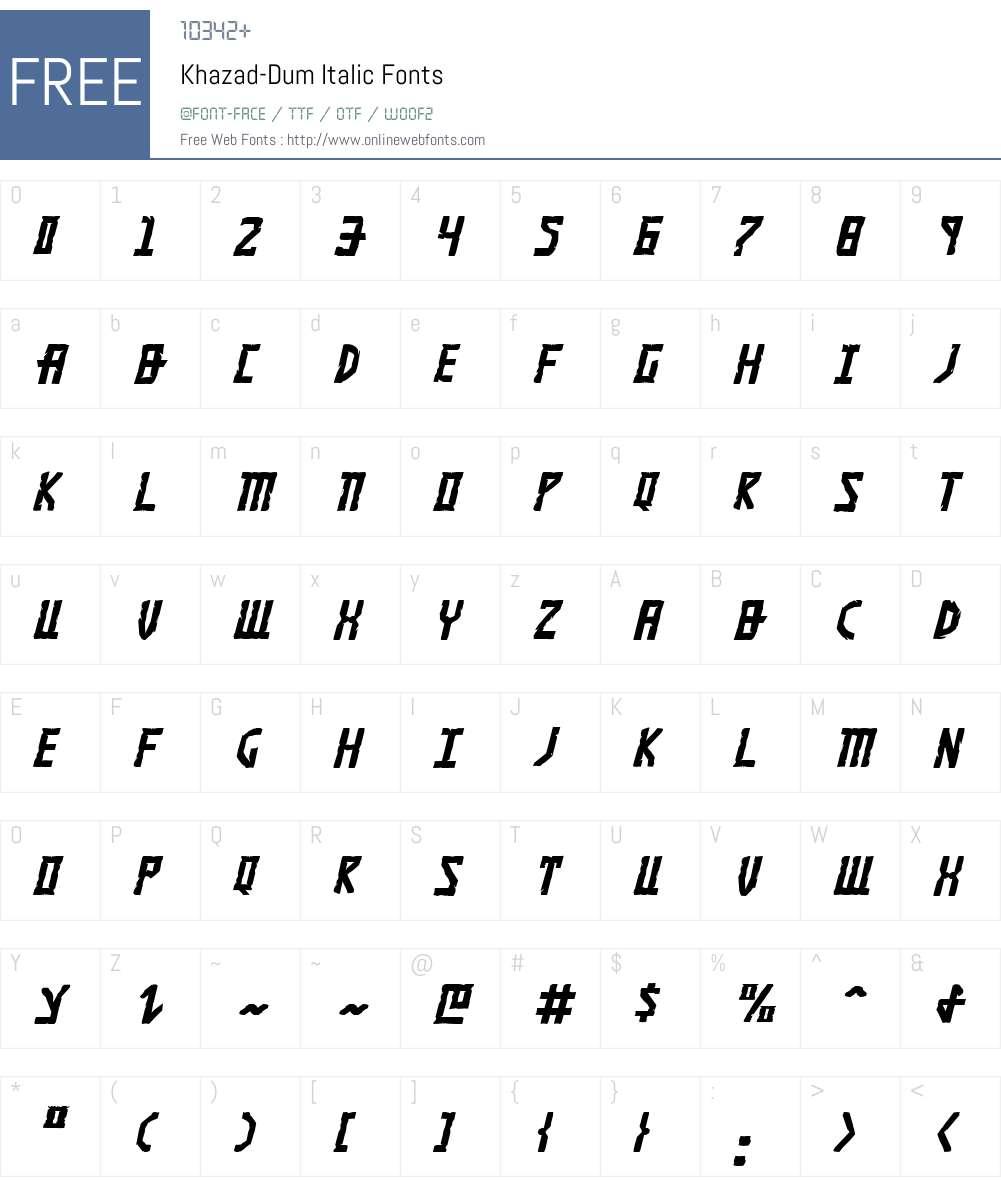 Khazad-Dum Italic Font Screenshots