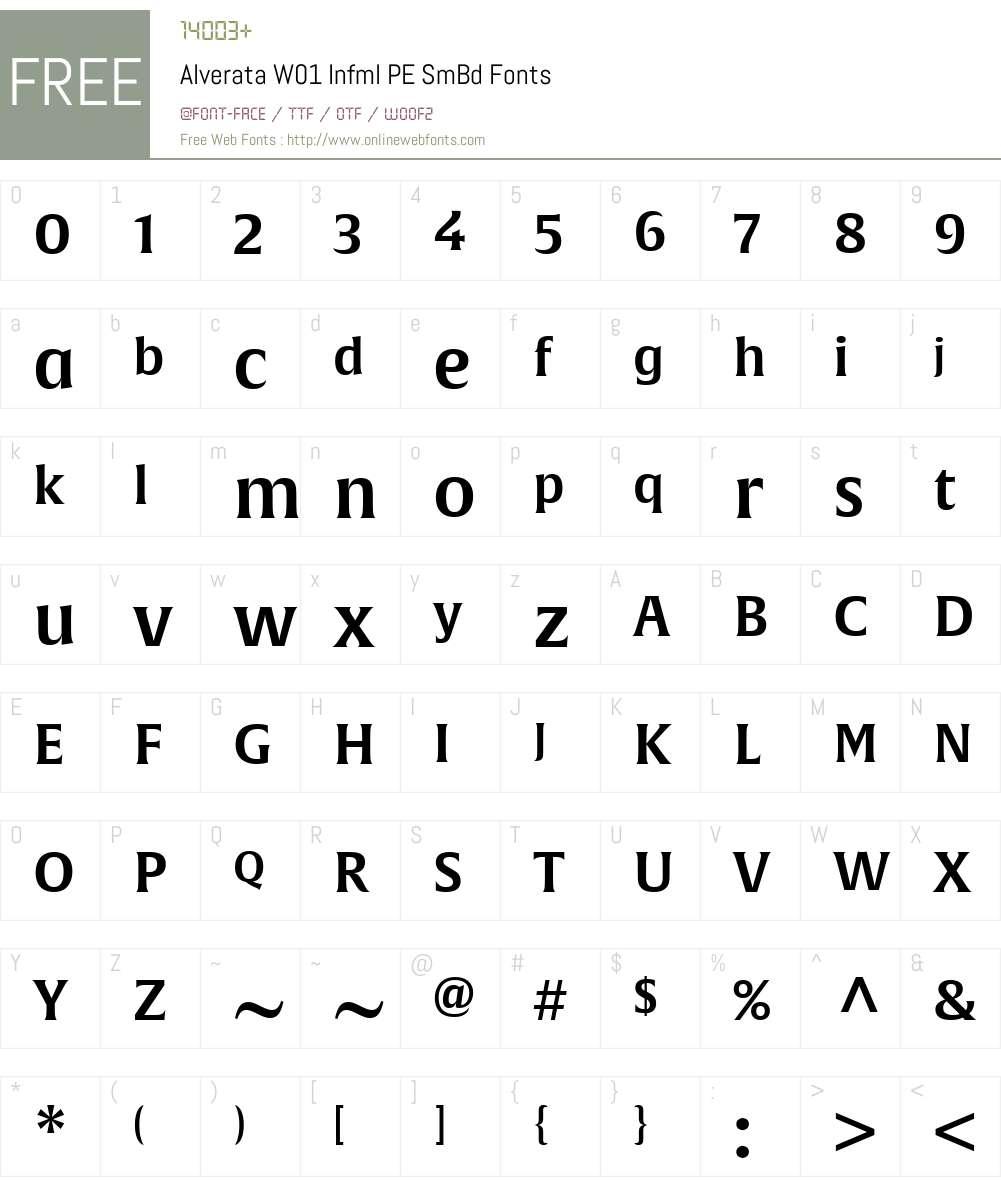 AlverataW01-InfmlPESmBd Font Screenshots
