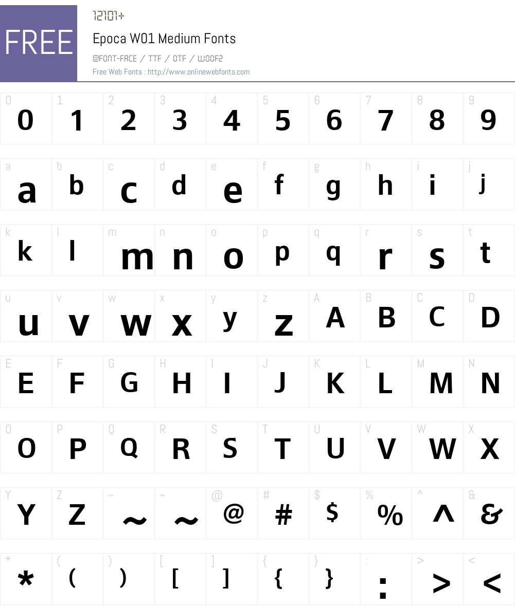EpocaW01-Medium Font Screenshots