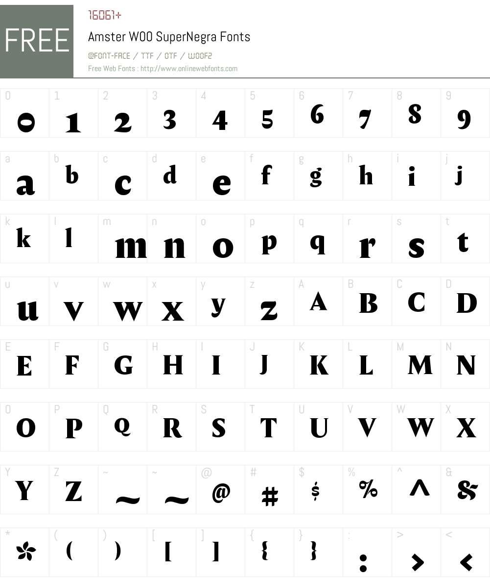 AmsterW00-SuperNegra Font Screenshots