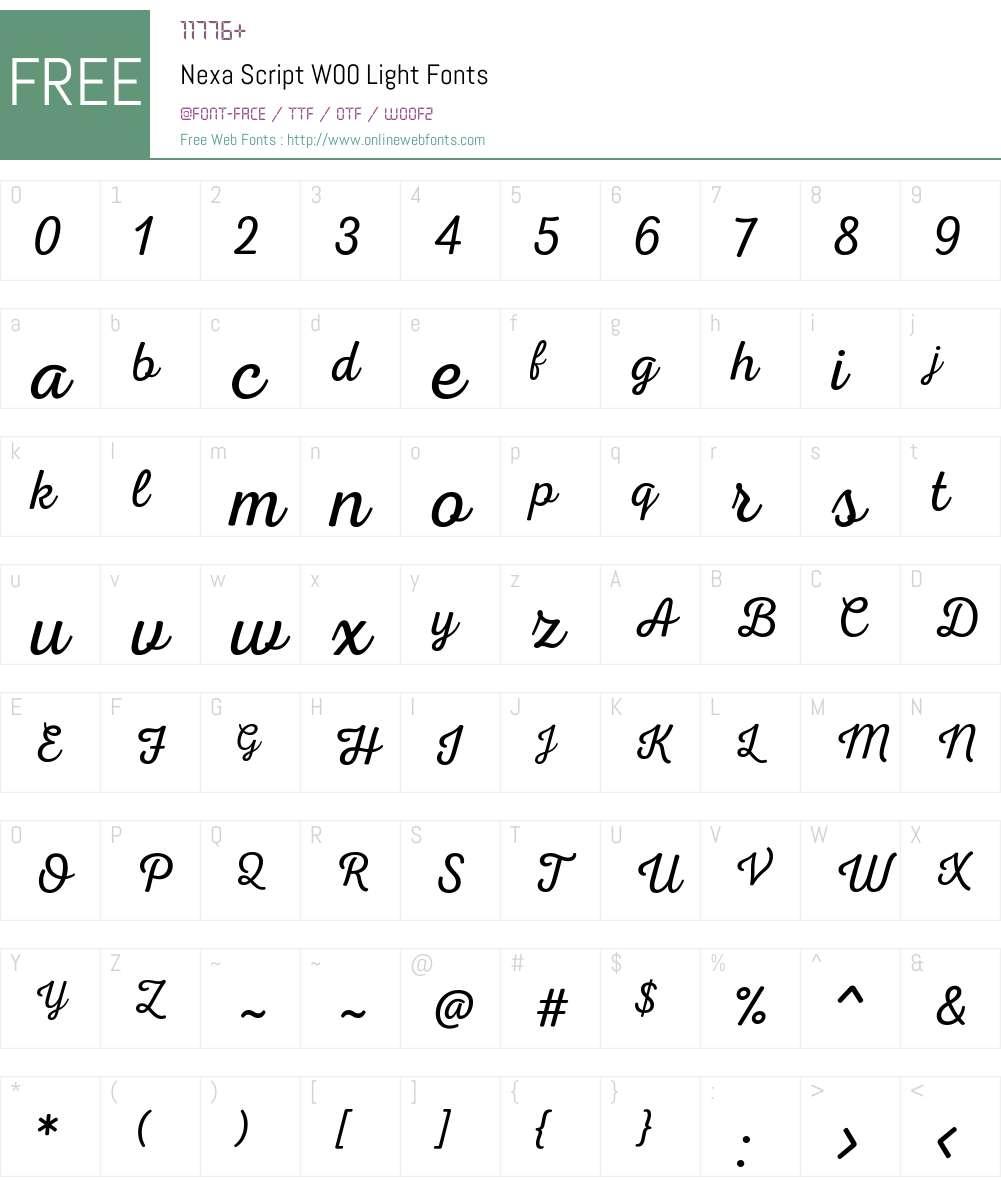 NexaScriptW00-Light Font Screenshots