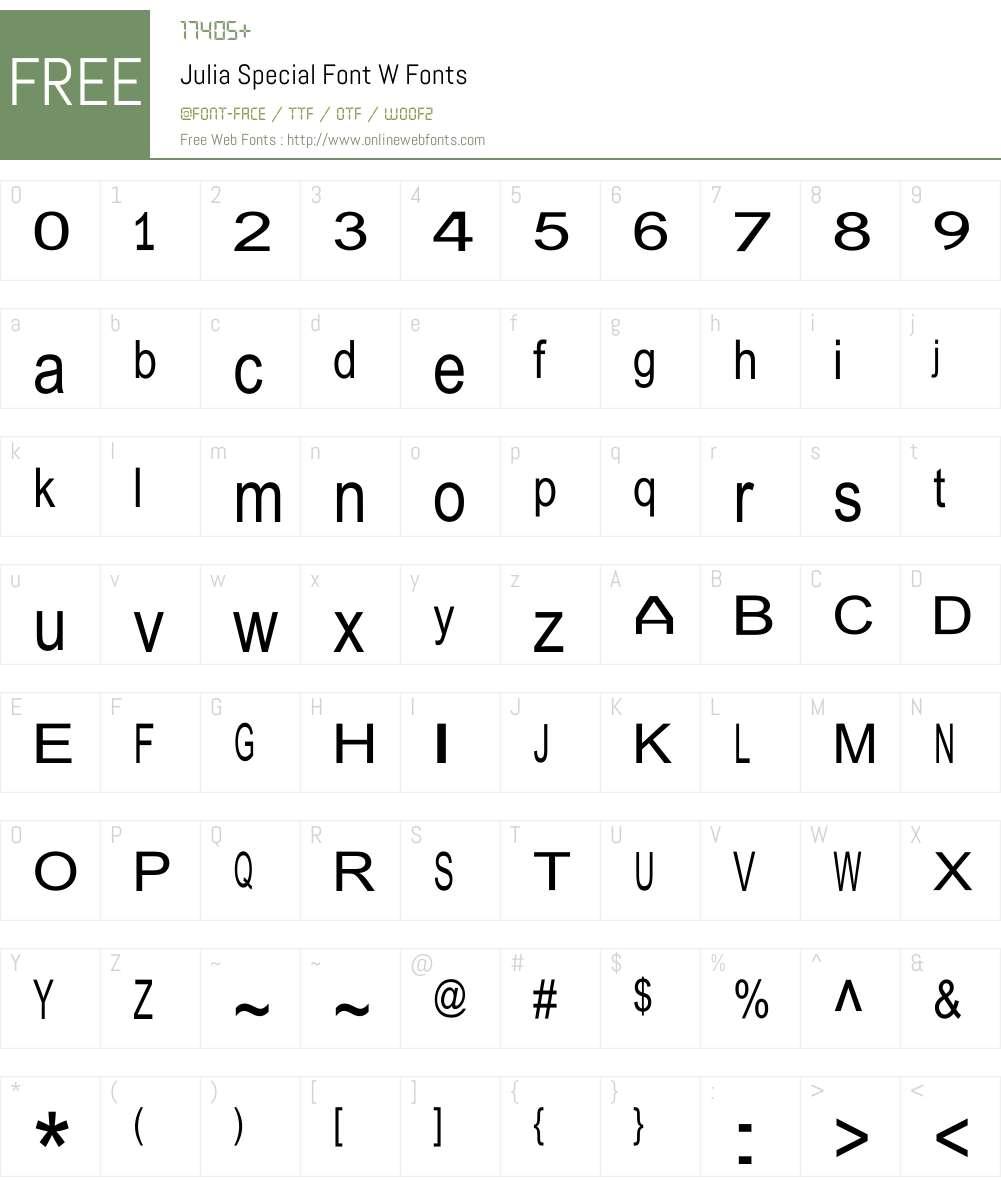 Julia Special Font W Font Screenshots