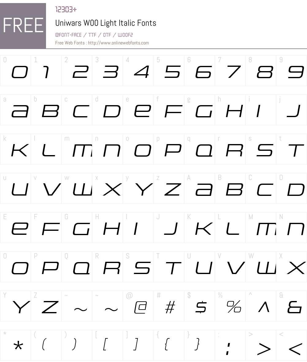 UniwarsW00-LightItalic Font Screenshots