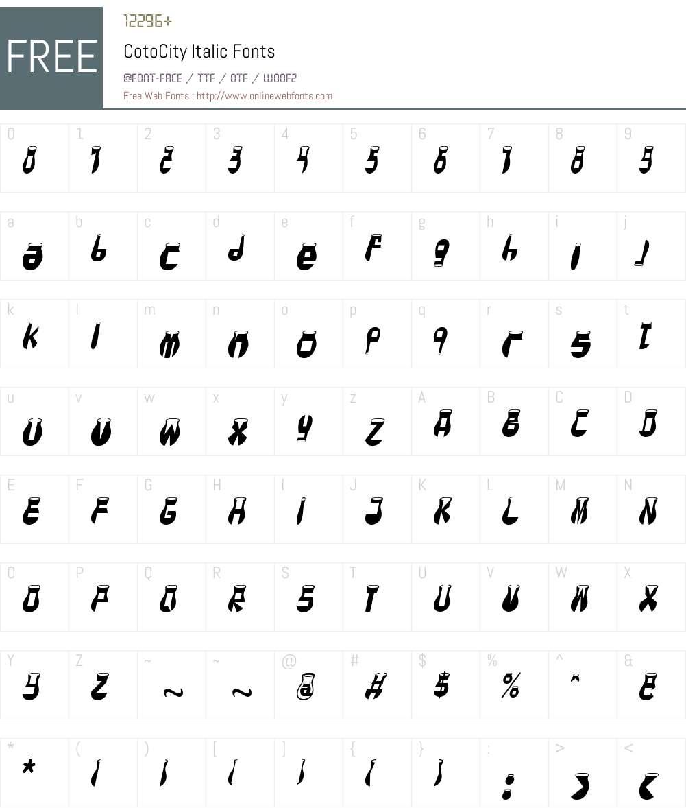 CotoCity Font Screenshots