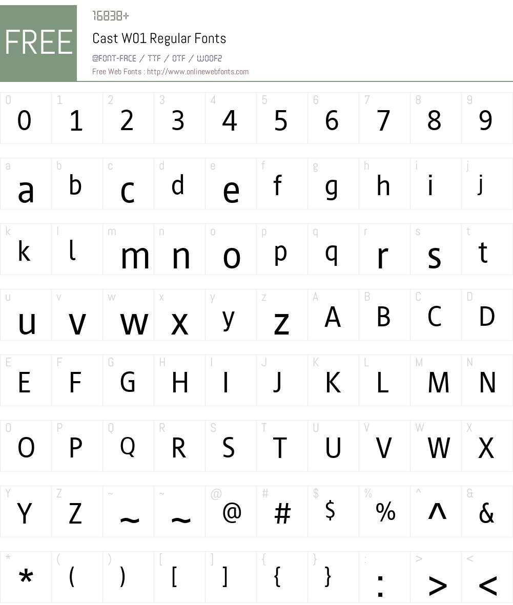 CastW01-Regular Font Screenshots