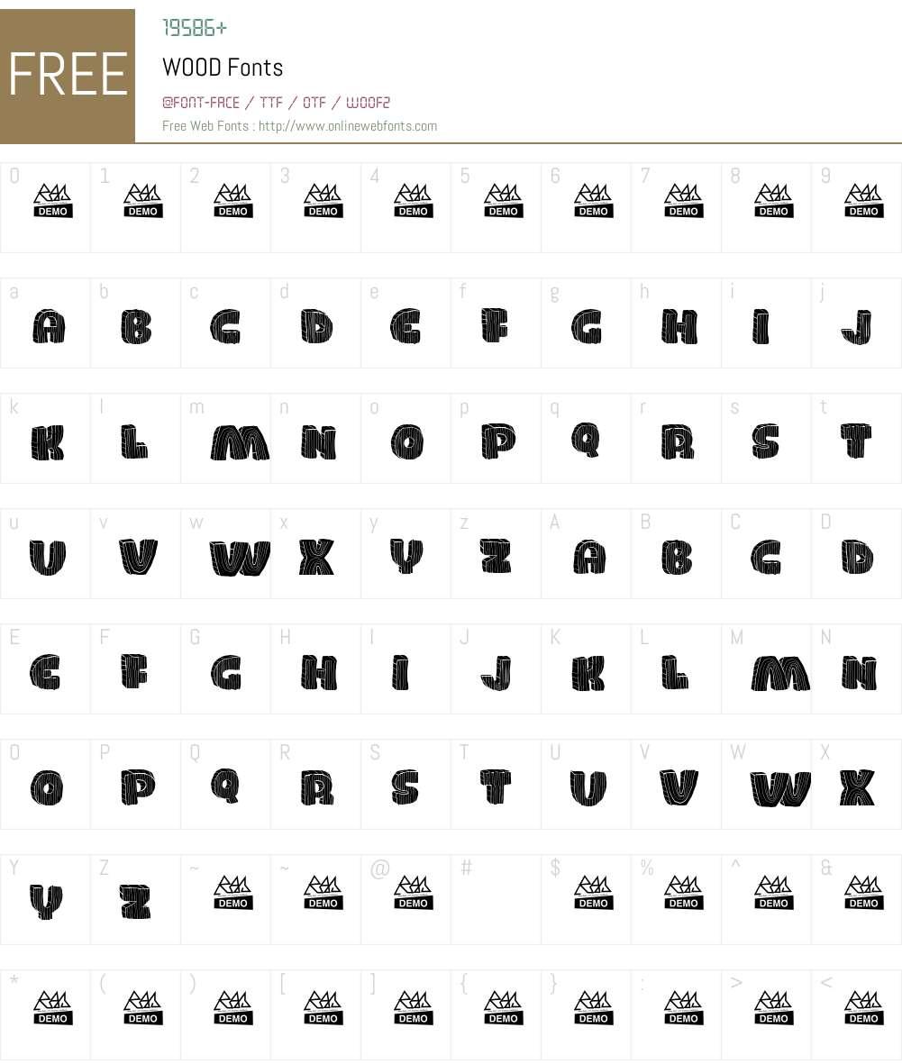 WOOD Font Screenshots