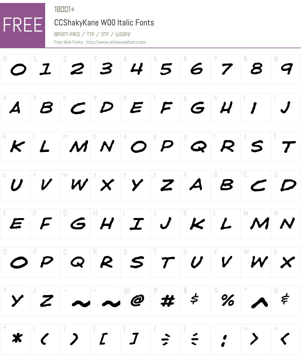 CCShakyKaneW00-Italic Font Screenshots
