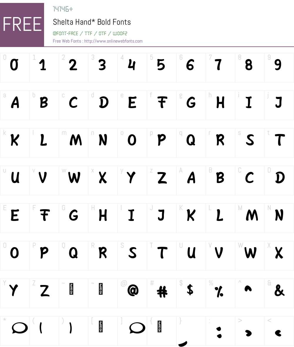 Shelta Hand* Font Screenshots