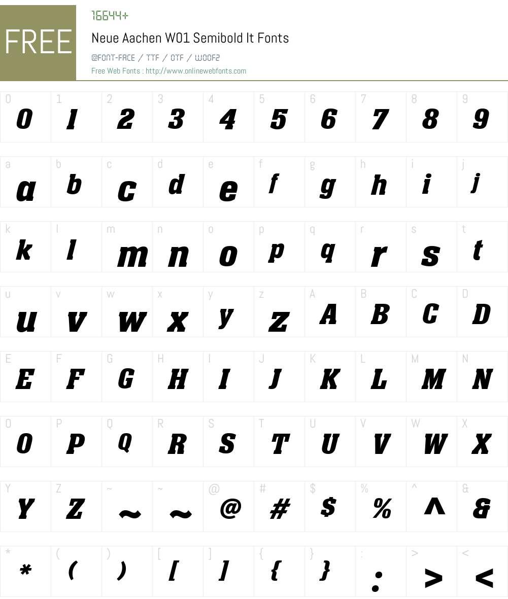 NeueAachenW01-SemiboldItalic Font Screenshots