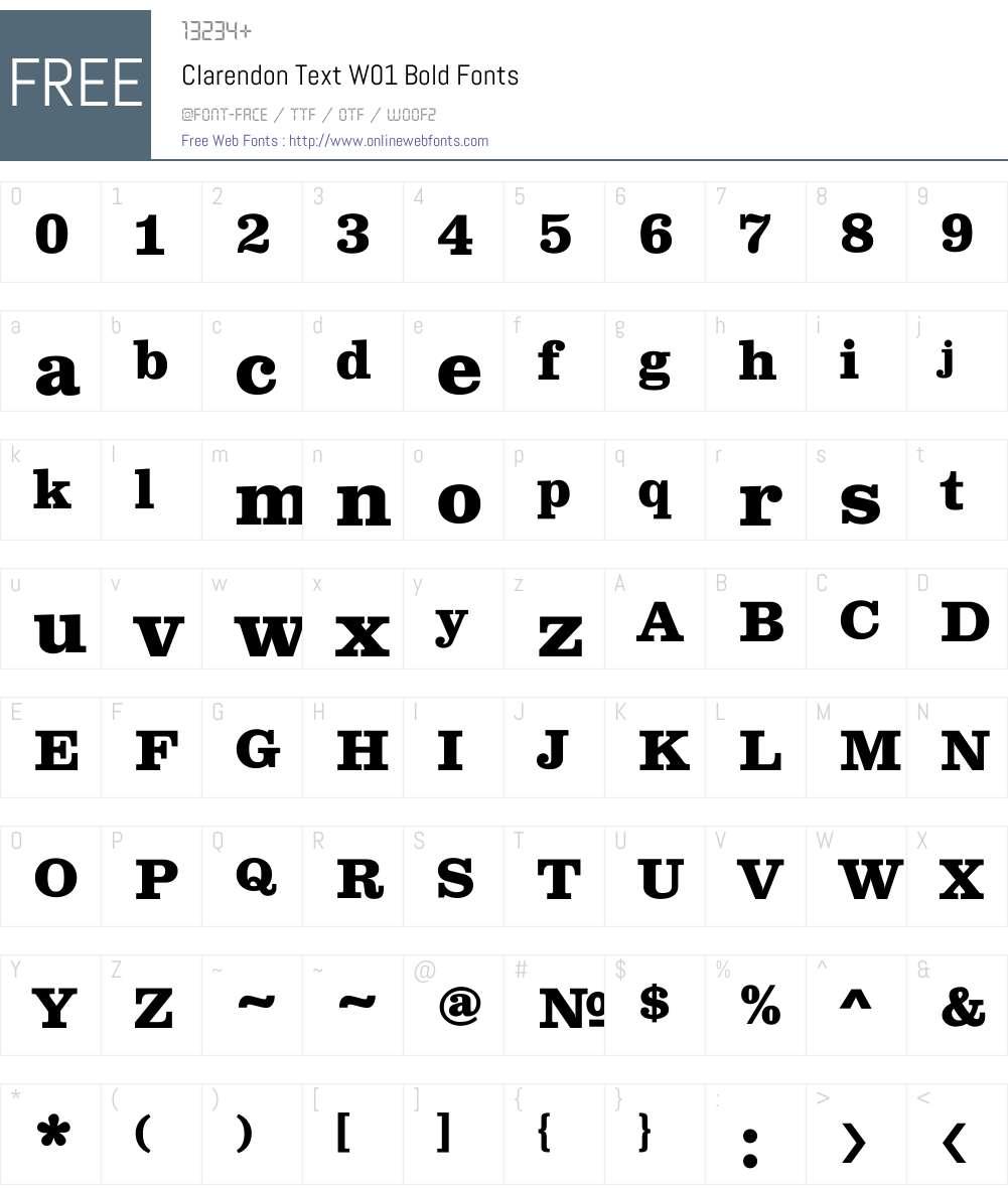 ClarendonTextW01-Bold Font Screenshots