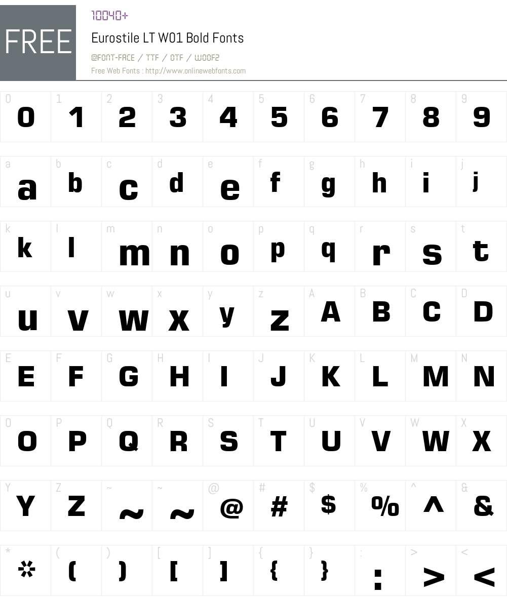 EurostileLTW01-Bold Font Screenshots