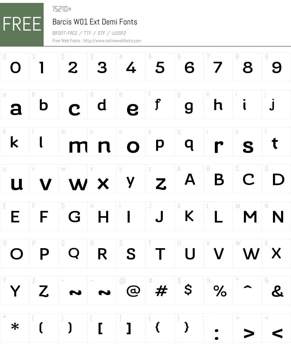 BarcisW01-ExtDemi Font Screenshots