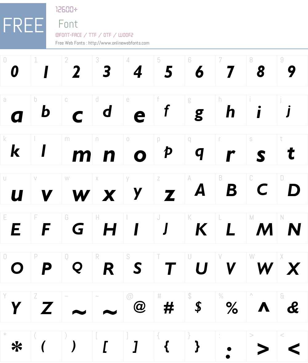 GillSansWGLW01-BoldItalic Font Screenshots