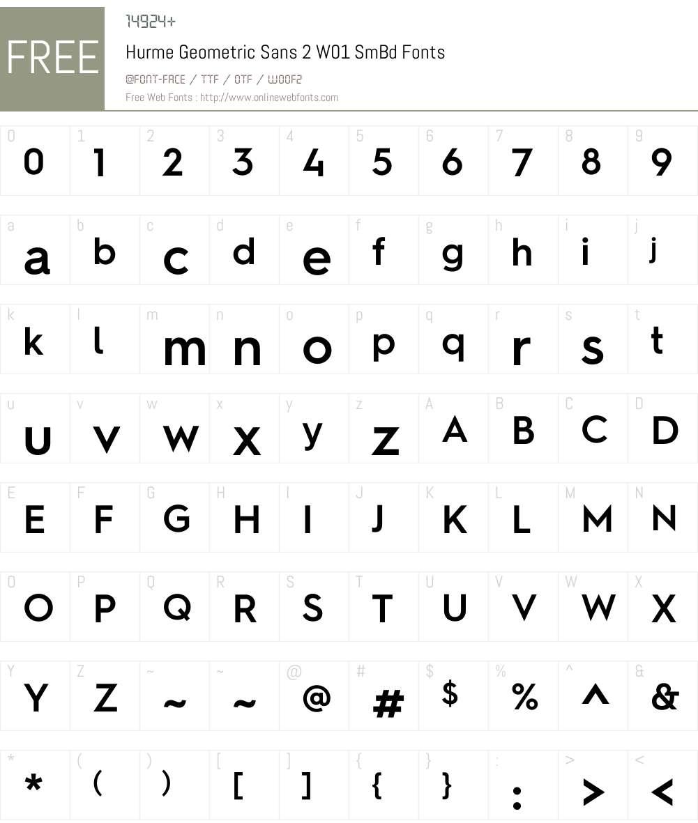 HurmeGeometricSans2W01-SmBd Font Screenshots