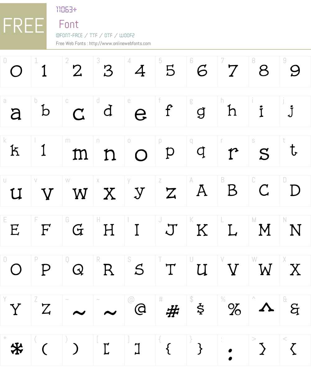 CCStorylineTypewriterW00 Font Screenshots