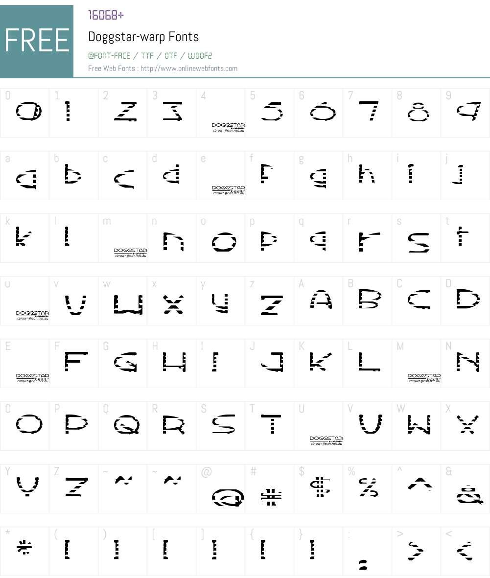 Doggstar-warp Font Screenshots