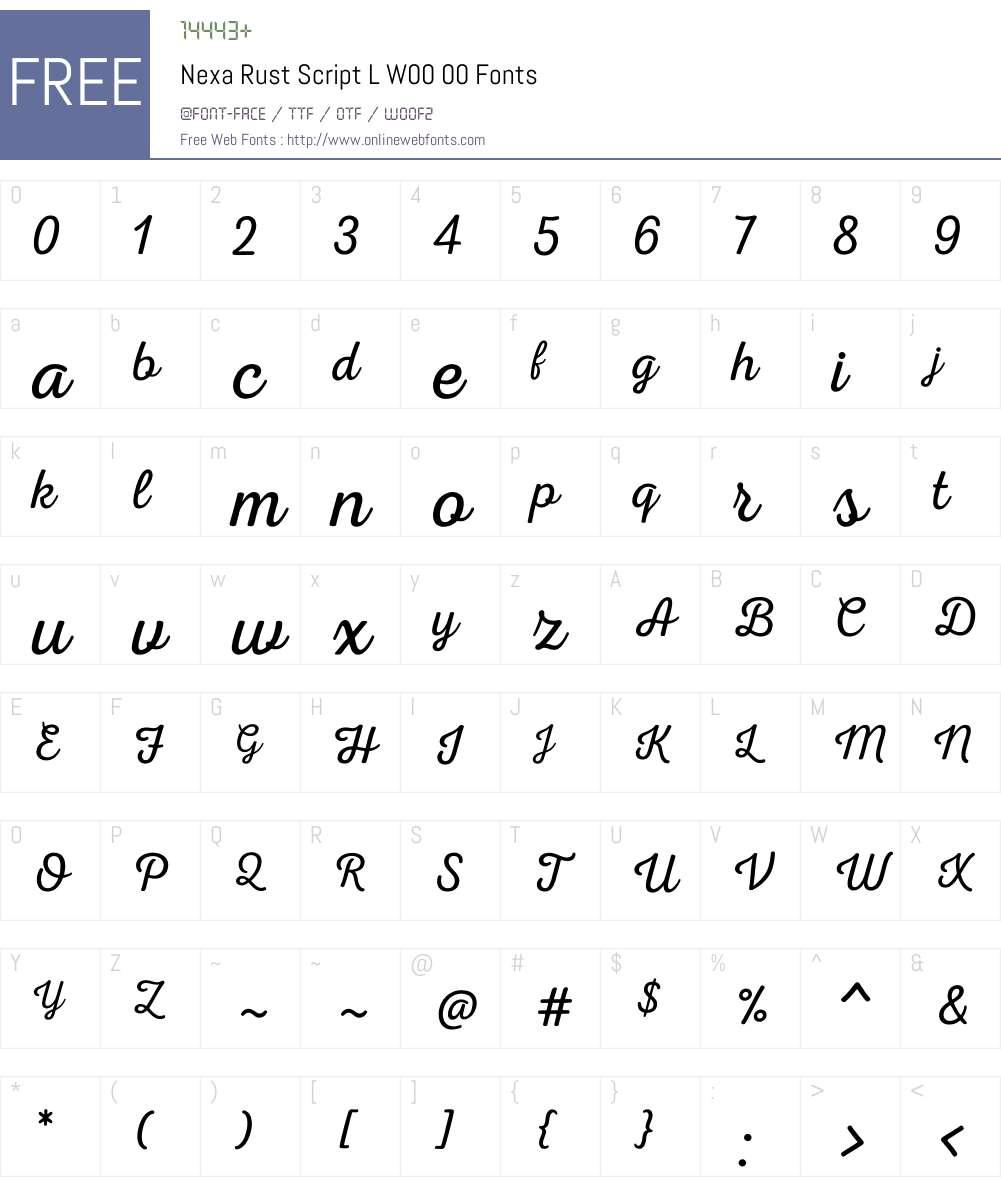 NexaRustScriptLW00-00 Font Screenshots