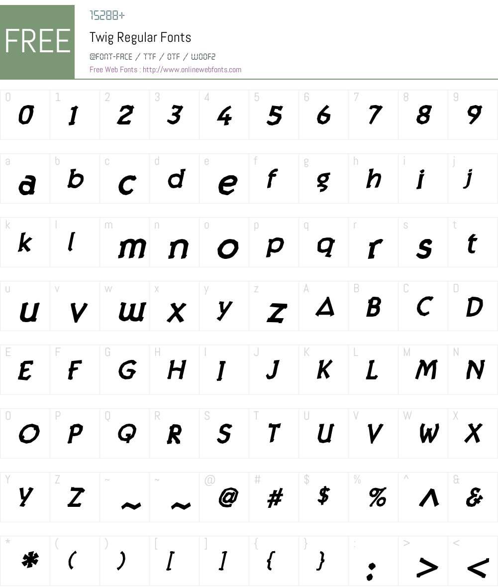 Twig Bold Oblique Font Screenshots