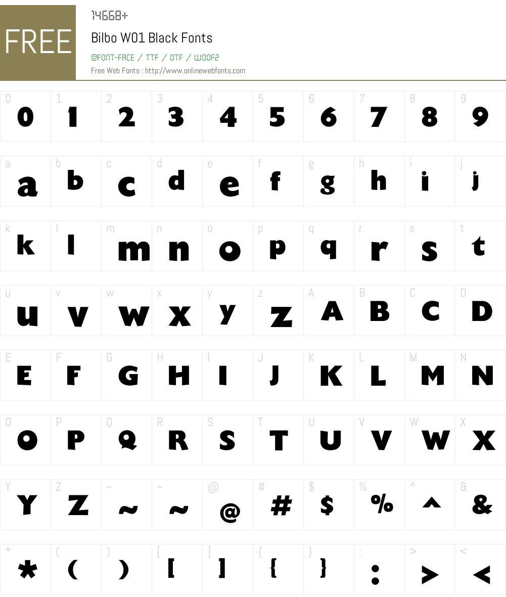 BilboW01-Black Font Screenshots