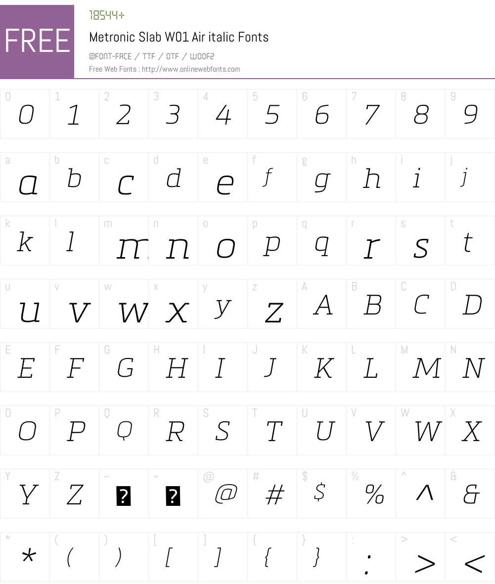 MetronicSlabW01-Airitalic Font Screenshots