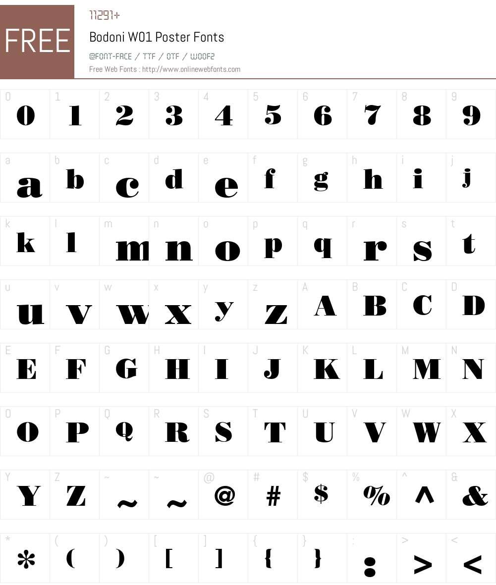 BodoniW01-Poster Font Screenshots