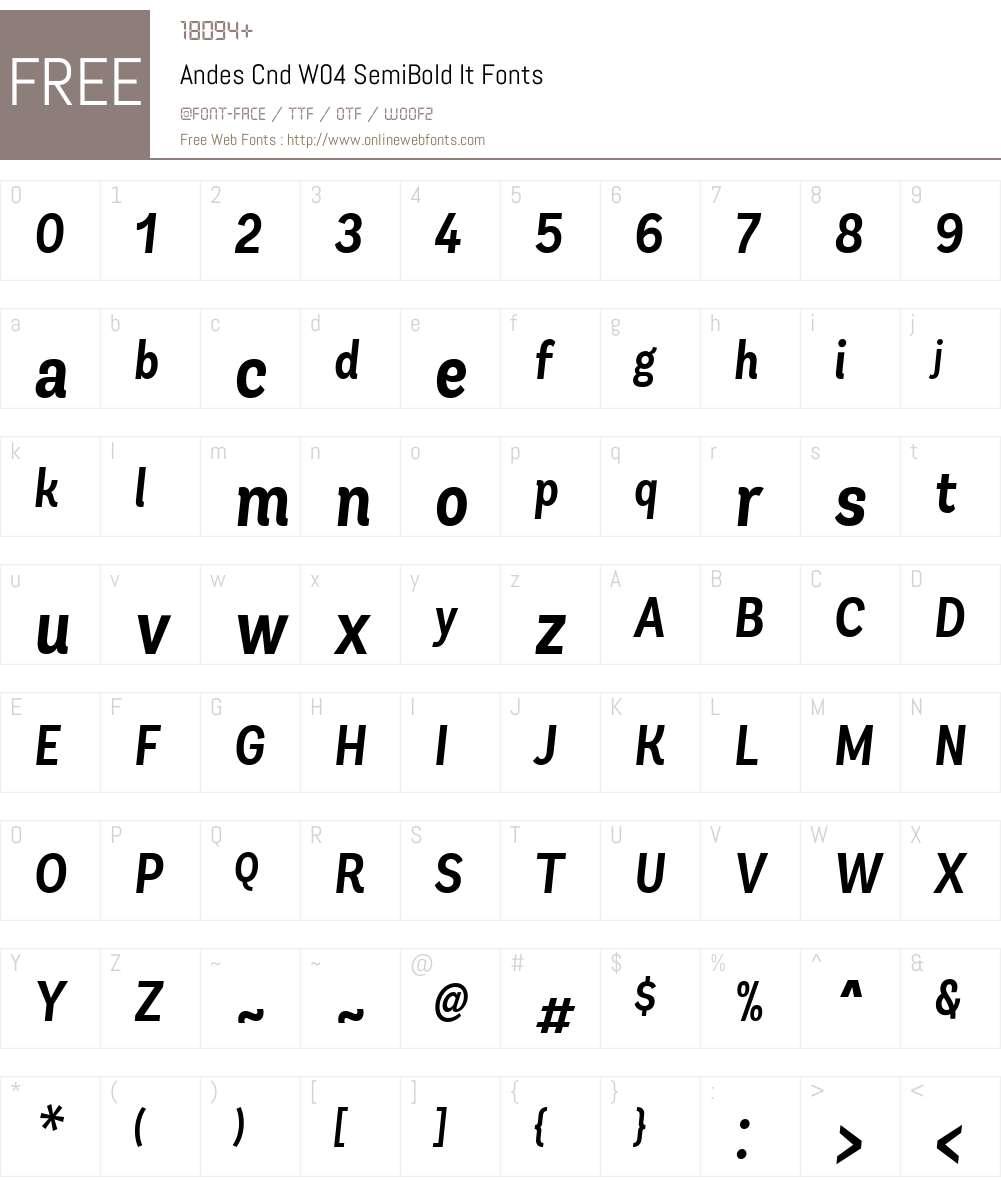AndesCndW04-SemiBoldIt Font Screenshots