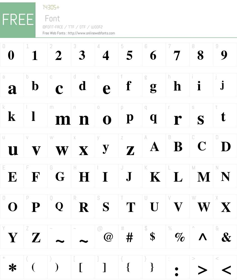 FreeSerif Font Screenshots