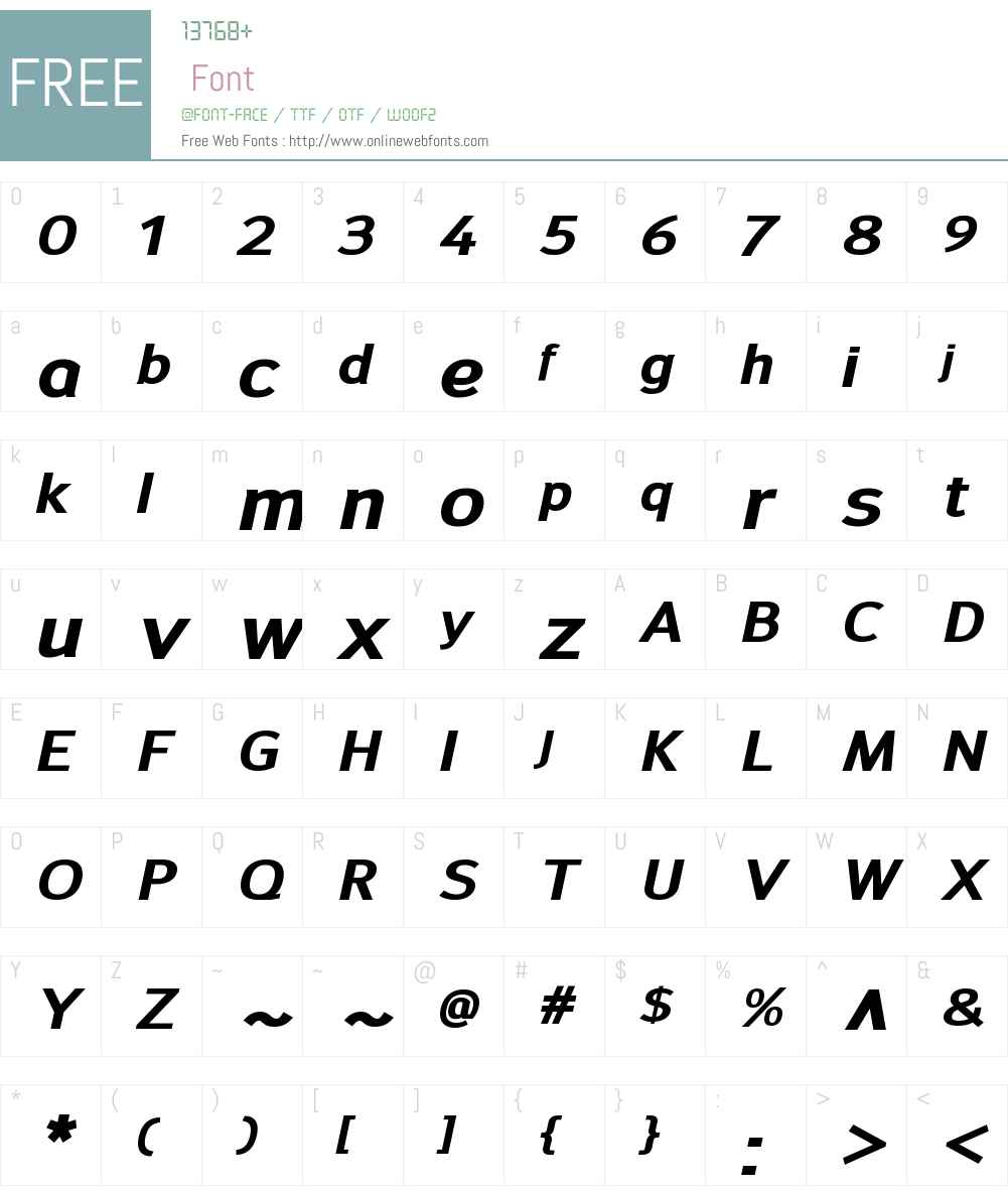 SavileW00-ExtraBoldItalic Font Screenshots